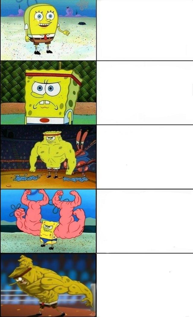 increasingly buff spongebob template