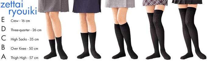 zettai ryouik Crew - 16 cm Three-quarter - 26 cm High Socks 35 crm Over Knee-50 cm Thigh High- 57 cm A