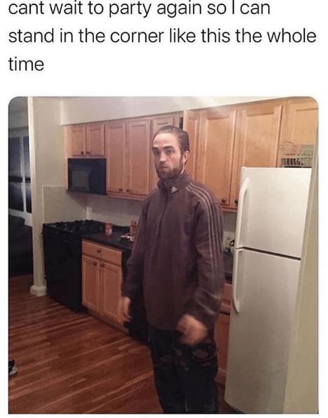 Good Time Meme : Tracksuit, Robert, Pattinson, Standing, Kitchen