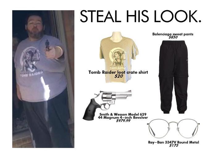 STEAL HIS LOOK. Balenciaga sweat pants $850 *HADO w Tomb Raider loot crate shirt $20 TOMB RAIDER SMITHA WEBSON Smith & Wesson Model 629 44 Magnum 4-inch Revolver $979.99 Ray-Ban 3347V Round Metal $173 White Clothing Product T-shirt