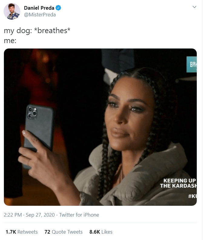 Daniel Preda @MisterPreda my dog: *breathes* me: BR KEEPING UP THE KARDASH #K 2:22 PM · Sep 27, 2020 · Twitter for iPhone 1.7K Retweets 72 Quote Tweets 8.6K Likes Kim Kardashian Keeping Up With the Kardashians Product Text Selfie Technology Electronic device Photography
