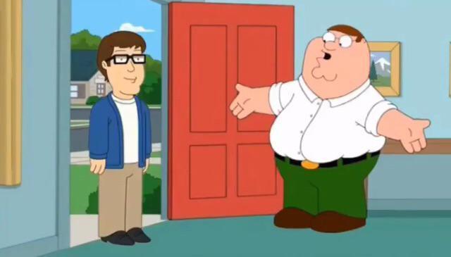 田 Peter Griffin Family Guy Cartoon Animated cartoon Green People Illustration Fiction Comics Art Clip art Child Conversation Fun Organism Interaction