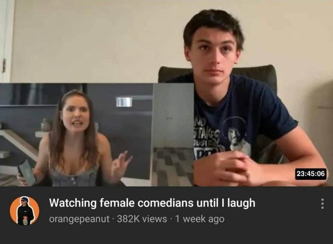 ND TAES TUST Dn 23:45:06 Watching female comedians until I laugh orangepeanut 382K views · 1 week ago Amy Schumer Facial expression Photo caption Arm Snapshot Conversation Fun Photography