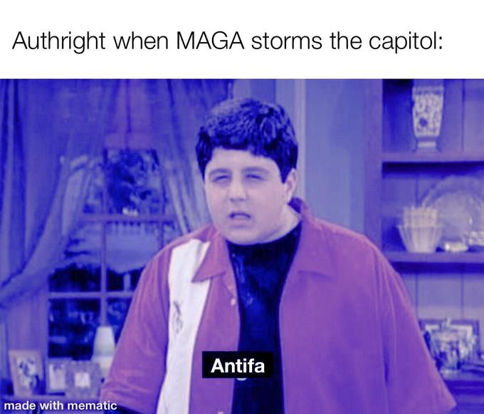 Authright when MAGA storms the capitol: Antifa made with mematic Drake & Josh Megan Parker Josh Peck Josh Nichols Drake Parker Blue Jaw Collar Majorelle blue Electric blue Shelf Cobalt blue