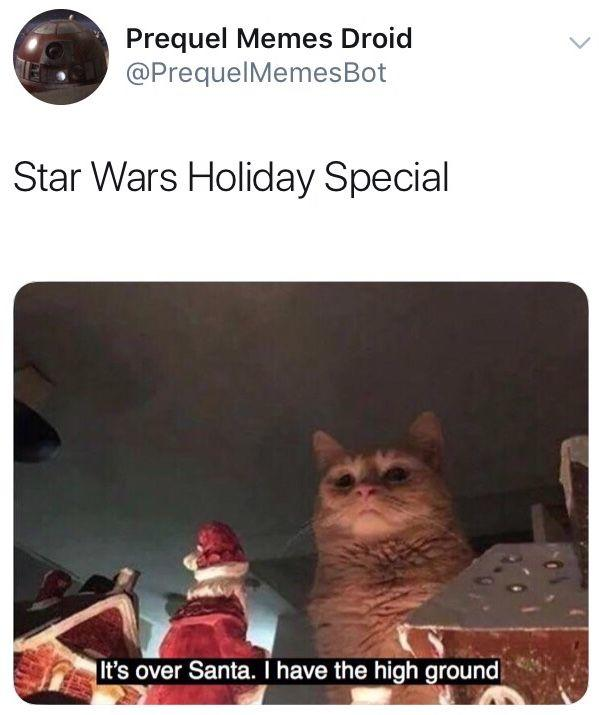 Prequel Memes Droid @PrequelMemesBot Star Wars Holiday Special It's over Santa. I have the high ground, Cat Organism Felidae Carnivore Small to medium-sized cats Cat Whiskers Photo caption