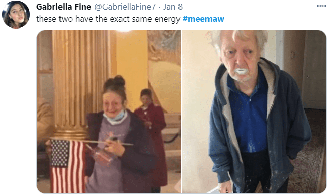 Gabriella Fine @GabriellaFine7 · Jan 8 000 these two have the exact same energy #meemaw People Photograph Facial expression Jaw Organ Sharing Photography Snapshot Flag Flag of the united states Conversation