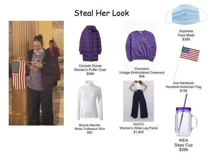 Steal Her Look Supreme Face Mask $399 Canada Goose Women's Puffer Coat: $99 Champion Vintage Embroidered Crewneck $98 Ace Hardware Handheld American Flag $199 Brandy Melville White Turtleneck Shirt $50 GUCCI Women's Wide Leg Pants $1,800 IKEA Sippy Cup $299 Product Sleeve Purple Lavender Fashion Electric blue Violet Magenta Flag Cobalt blue