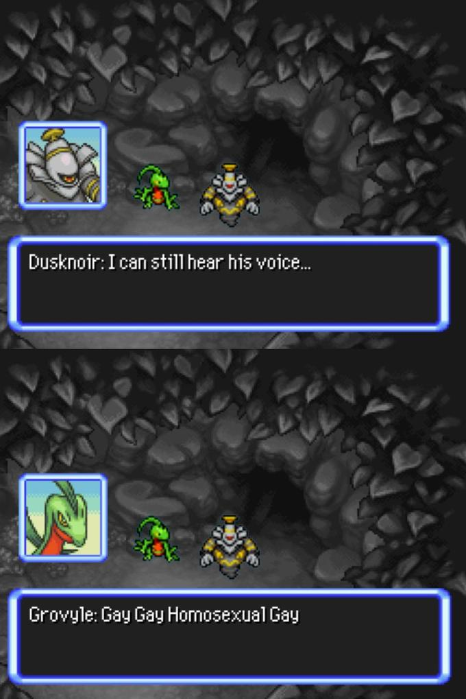 Dusknoir:I can still hear his voice. Grovyle: Gay Gay Homosexual Gay Tire Light Automotive tire Tread Font Screenshot Wheel