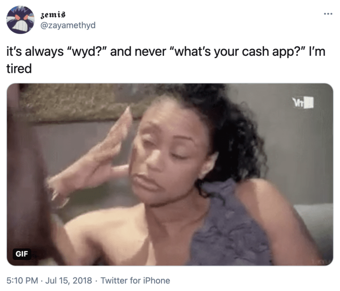 "zemis @zayamethyd ... it's always ""wyd?"" and never ""what's your cash app?"" I'm tired GIF 5:10 PM · Jul 15, 2018 · Twitter for iPhone Eyebrow Human Gesture Happy Font Adaptation People Beauty"