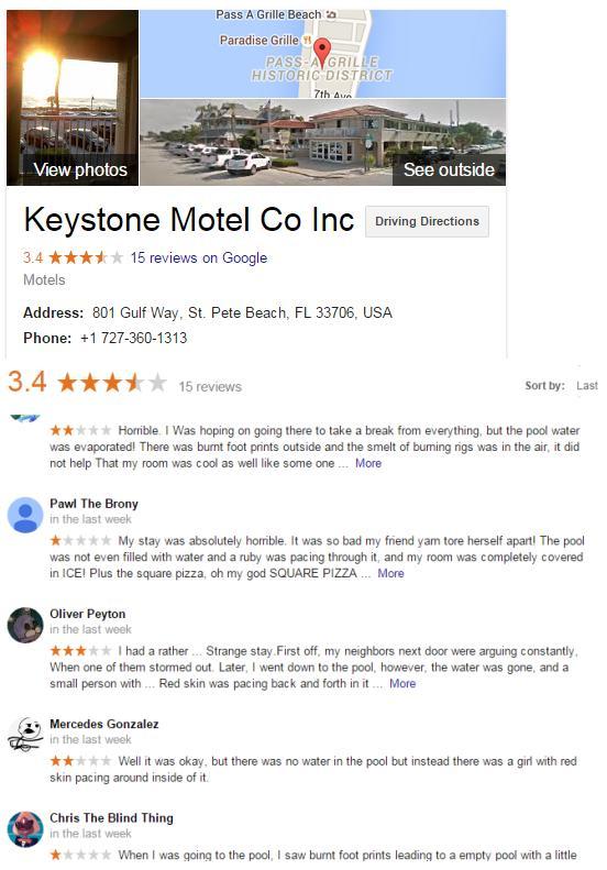 keystone motel reviews steven