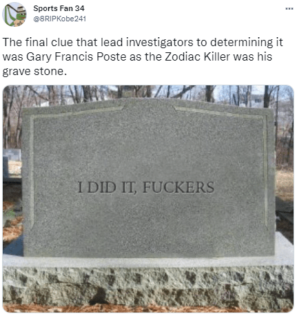 Republican senator ted cruz embraced the zodiac killer meme in a halloween tweet. The final clue that lead investigators to determining it ...