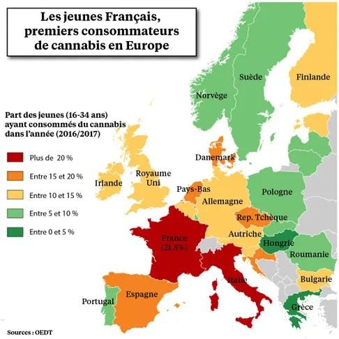 INFOGRAPHIE - Les Français, premiers consommateurs de cannabis en Europe, de plus en plus favorable à une légalisation