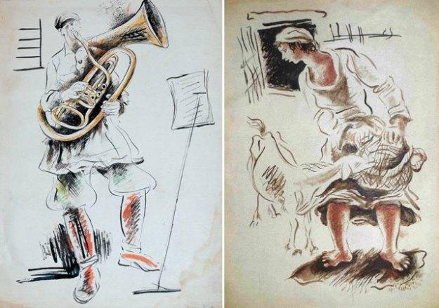 Марк Эпштейн: «Красноармеец-трубач» (слева) «Женщина, кормящая козу» (справа)