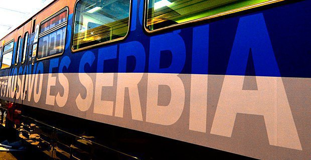 "The train saying ""Kosovo is Serbia"" was stopped at the Raška station"