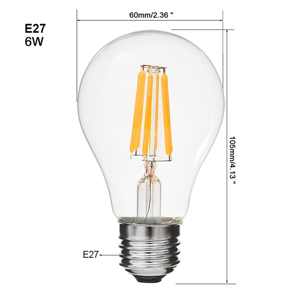 2w Filament Led Globe Light Bulb Light A60 Chandelier Bulb