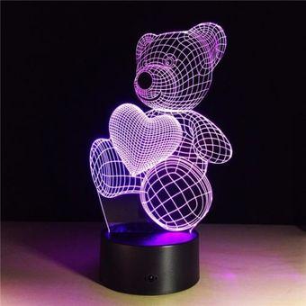 Compra LAMPARA LED 3D FUNCIONA CORRIENTE ELCTRICA CAMBIO DE COLORES LUZ NOCTURNA DISEO OSITO CON CORAZN online  Linio Per