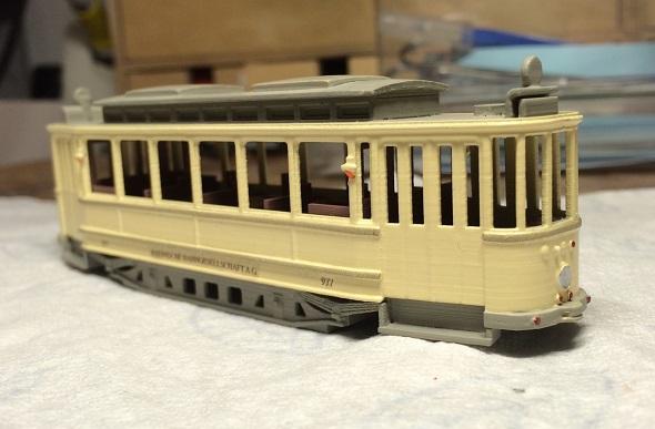 Guido Mandorf'un elle boyanmış tramvay modeli