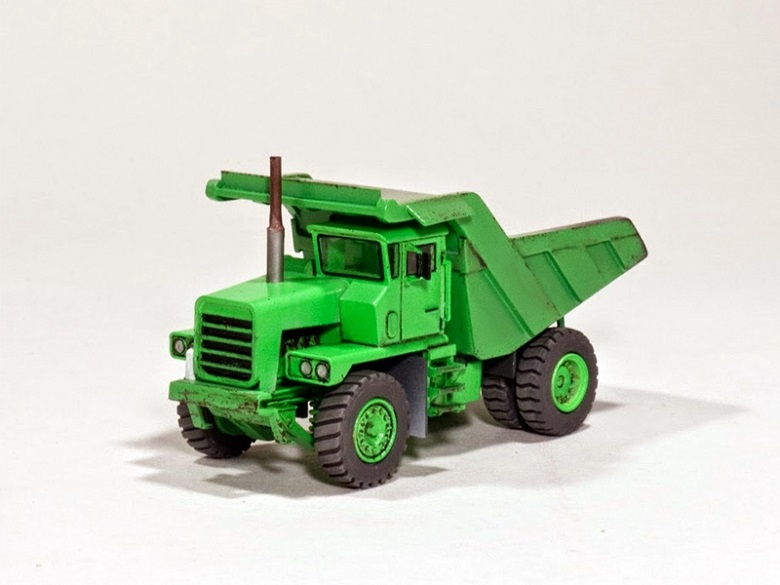 Dump Truck by Jens. 3D Printed in Gray Resin and Hand Painted.