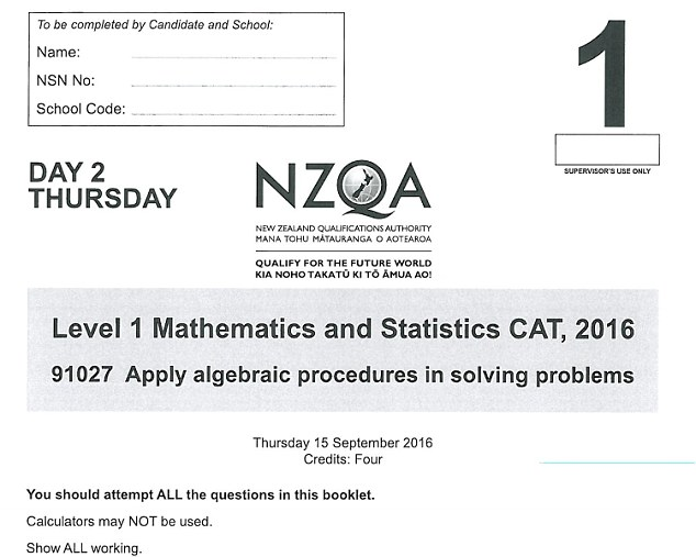 Maths equations so difficult they reduced New Zealand high