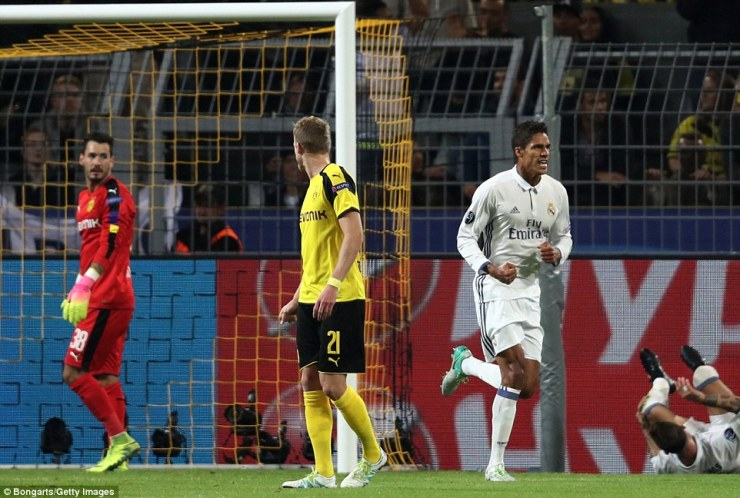 French defender Raphael Varane restores Real's lead with 20 minutes of the contest remaining