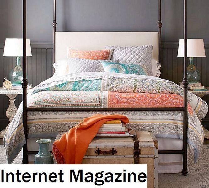 pottery barn kitchen rugs outside island 用色彩缤纷的床上用品让你的卧室充满活力的七种方式2018 todoinfor com 克莱尔围巾羽绒被封面 从149美元起 陶器谷仓