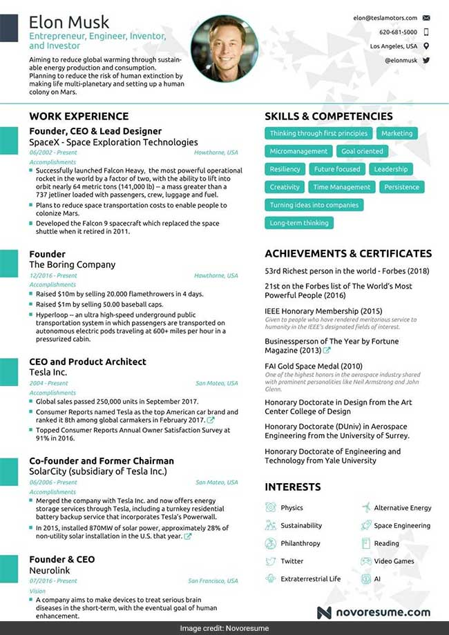 Elon Musk's Impressive Resume Fits Into Just One Page Why