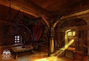 concept witcher taverns dark wooden imagine through windows total place sea