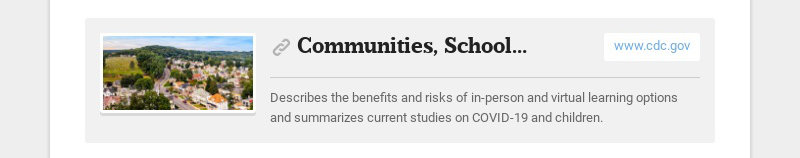 Communities, Schools, Workplaces, & Events www.cdc.gov Describes the benefits and risks of in-...