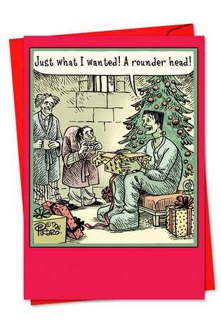 Rounder Head Christmas Card Funny Cartoon Card