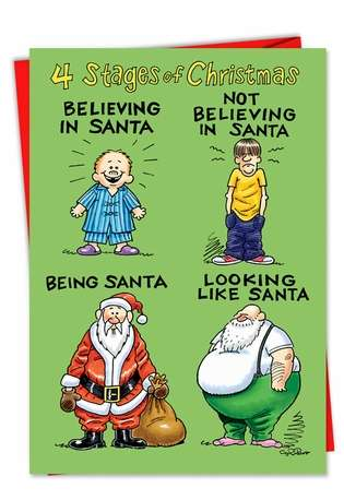 Four Stages Of Life As Santa Christmas Card