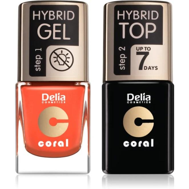 Delia Cosmetics Coral Nail Enamel Hybrid Gel kosmetická sada pro ženy