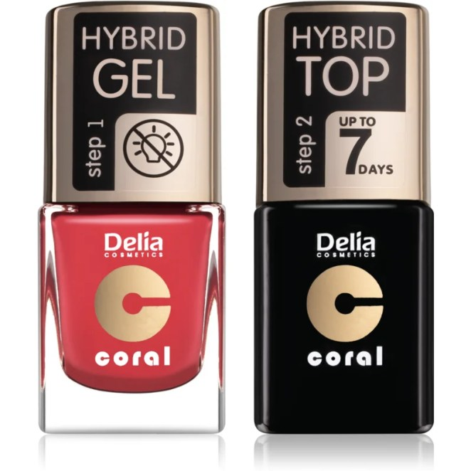 Delia Cosmetics Coral Nail Enamel Hybrid Gel kosmetická sada pro ženy odstín 18