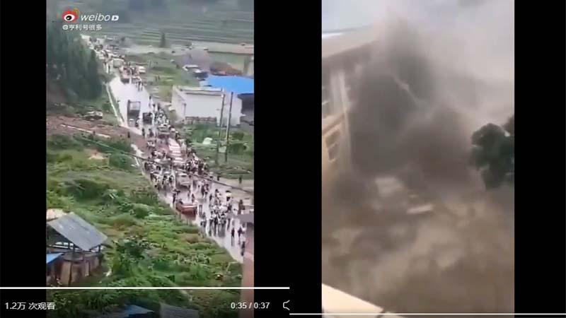 網傳貴州龍塘水庫崩塌 民眾奔走逃命(視頻)   南方洪水   決堤   新唐人中文電視臺在線