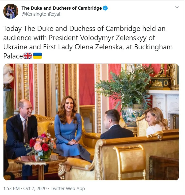 Володимир і Олена Зеленська зустрілися із Кейт Міддлтон і принцом Вільямом.