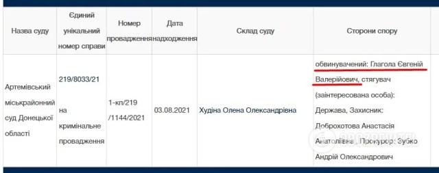 """Дані про тоді ще звинуваченого на сайті """"Судова влада"""""""