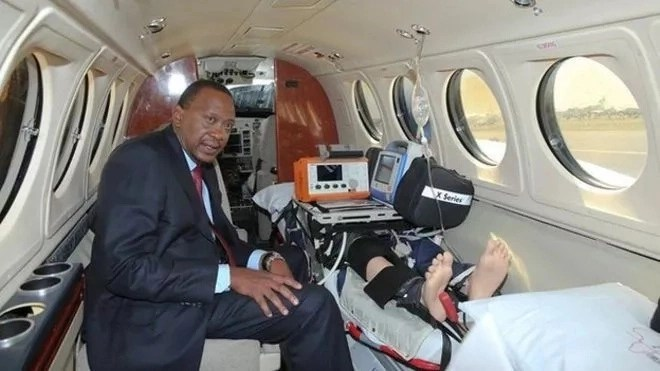 Mwai Kibaki flown to South Africa by AMREF Flying Doctors