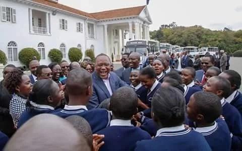 Joy as students receive buses from President Uhuru Kenyatta