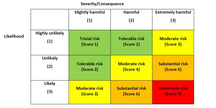Risk assessment example by Health & Safety Executives