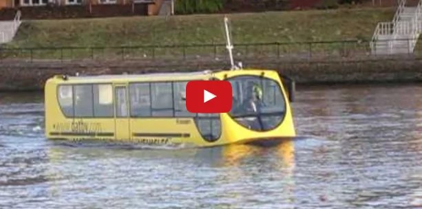 bus driving on water