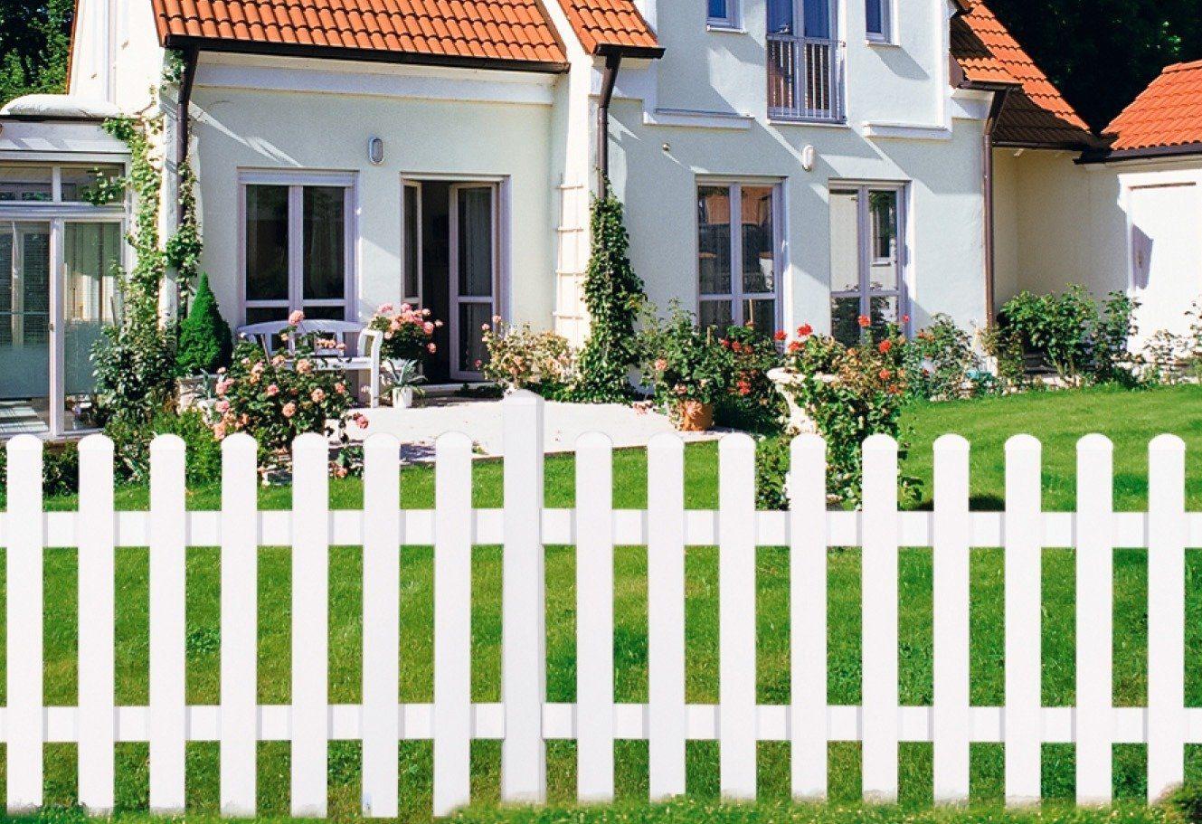 Gartenzaun Zaunelement gerade, wei (in 2 Gren)