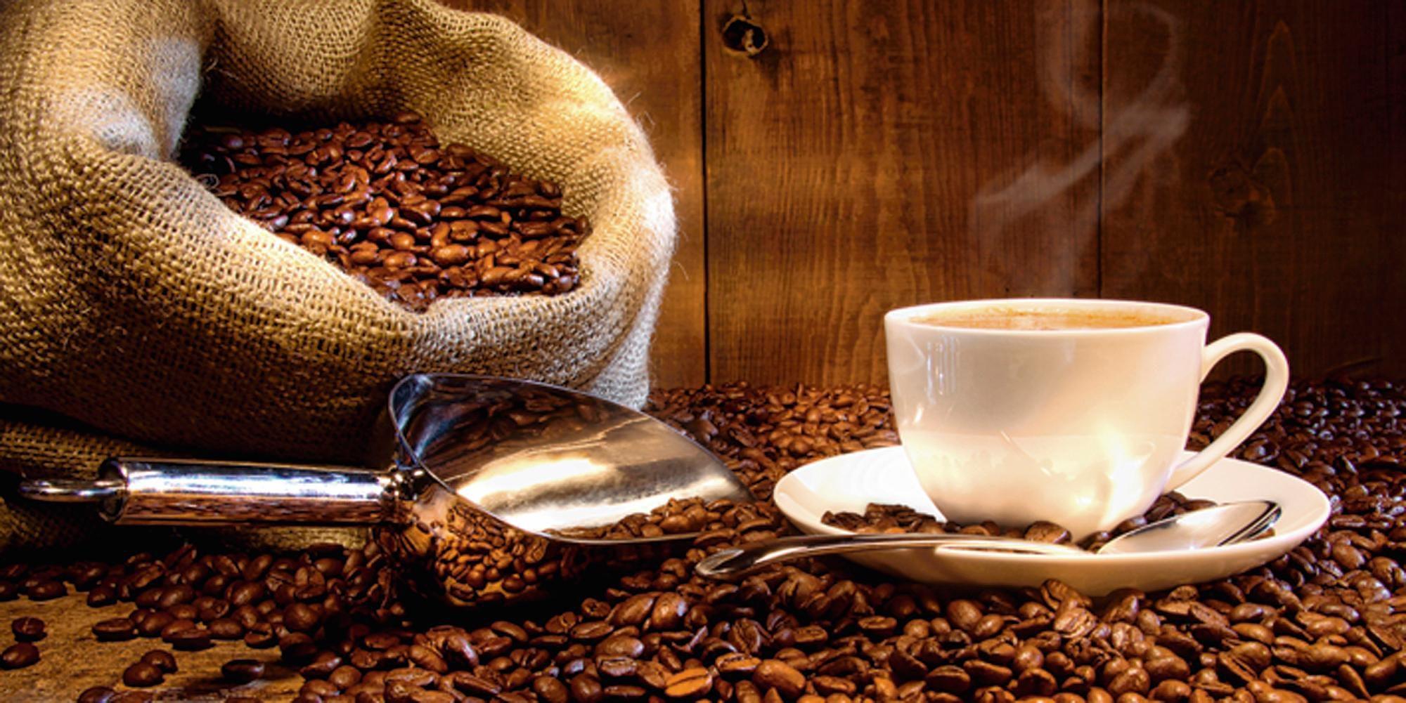 Home affaire Glasbild S Cunningham Kaffeetasse und Leinensack mit Kaffeebohnen Kaffee 60