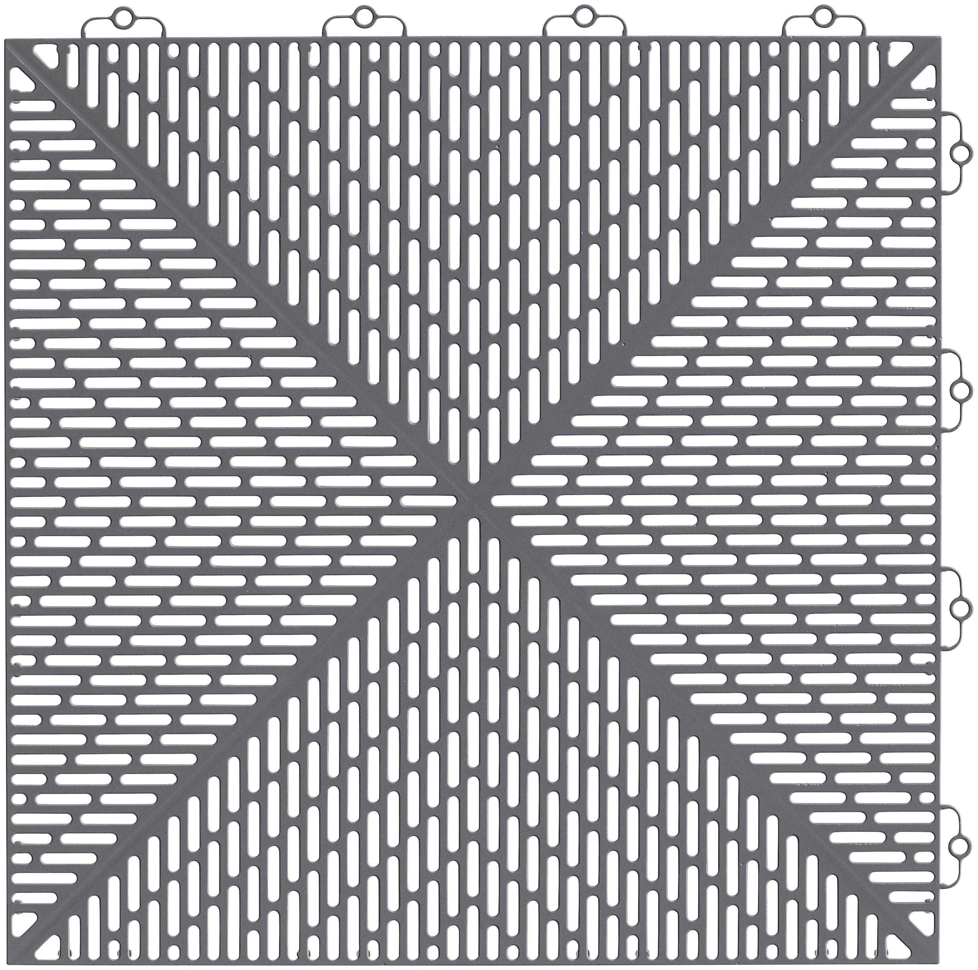 BodenplattenSet KunststoffFliese Unique Steingrau