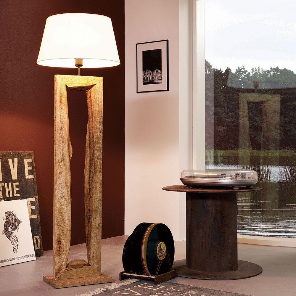 Lichttrend Stehleuchte »timber Mit Holzfuß H126cm Braun