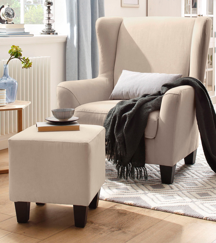 Home affaire Sessel mit Hocker im Set Chilly mit FederkernPolsterung in Karo  Unifarben