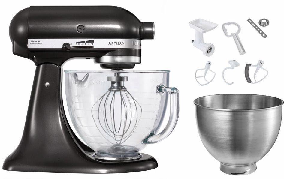 KitchenAid Kchenmaschine Artisan 5KSM156EBZ mit groer Glasschssel und Sonderzubehr im Wert