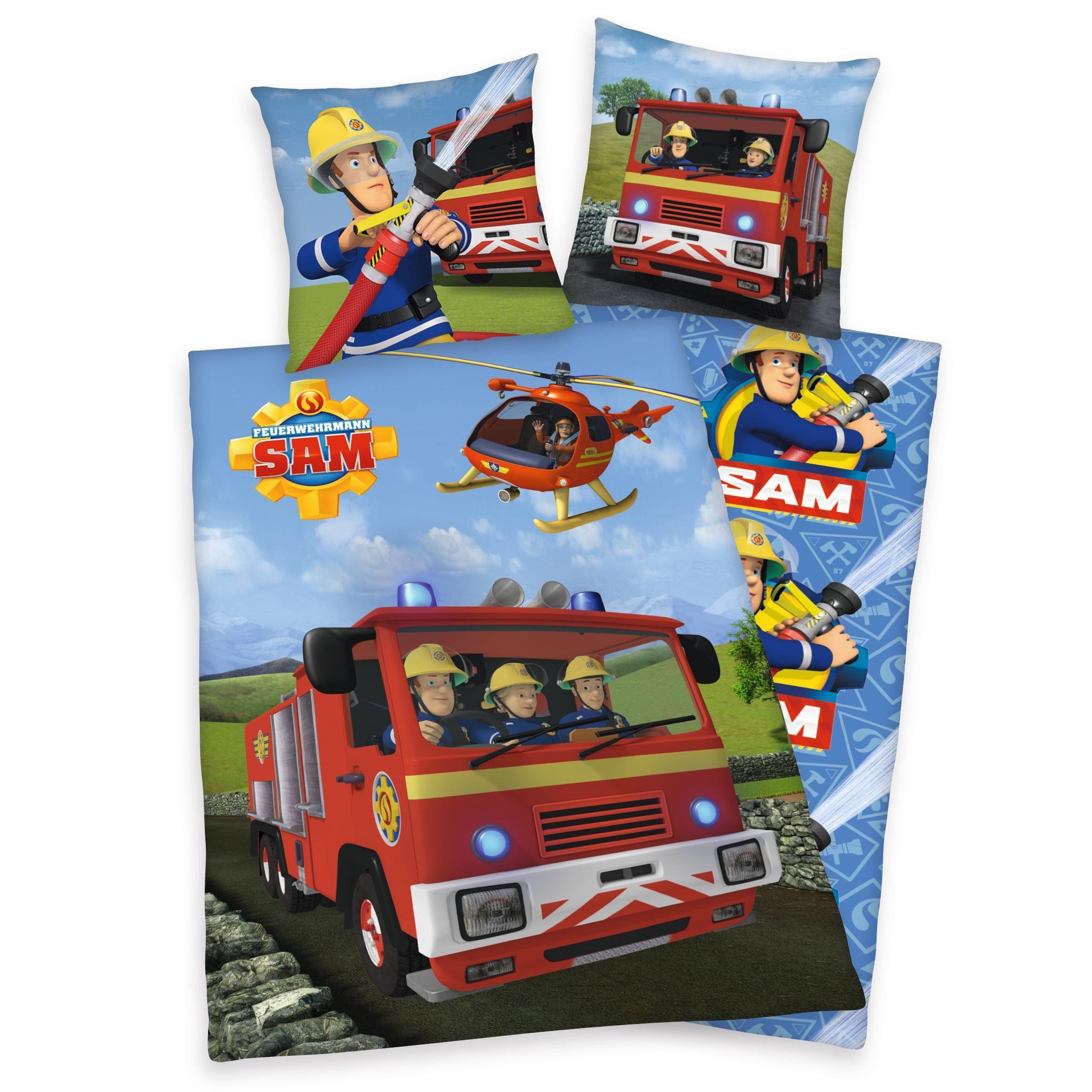 Kinderbettwsche Feuerwehrmann Sam Sam im Einsatz mit