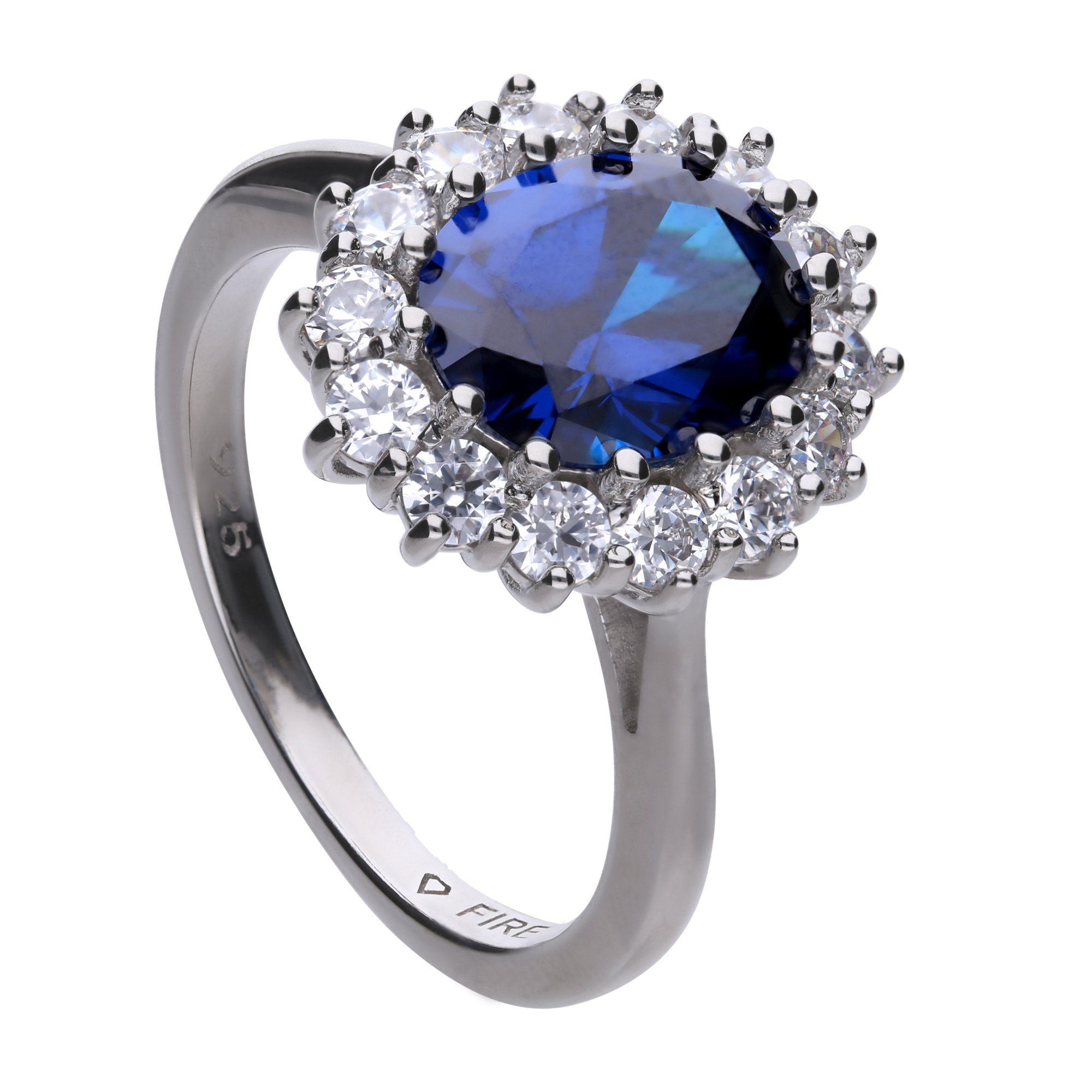Diamonfire Ring 925 Silber 1x blauer  15x weie Zirkonia online kaufen  OTTO