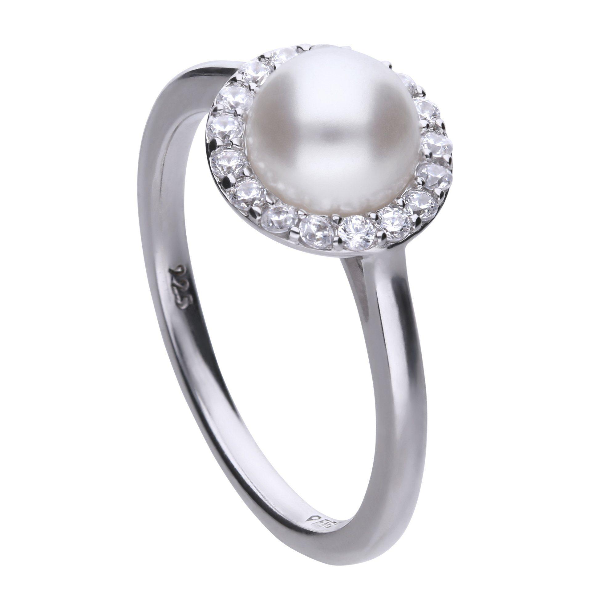 Diamonfire Ring 925 Sterling Silber Perle  17x Zirkonia