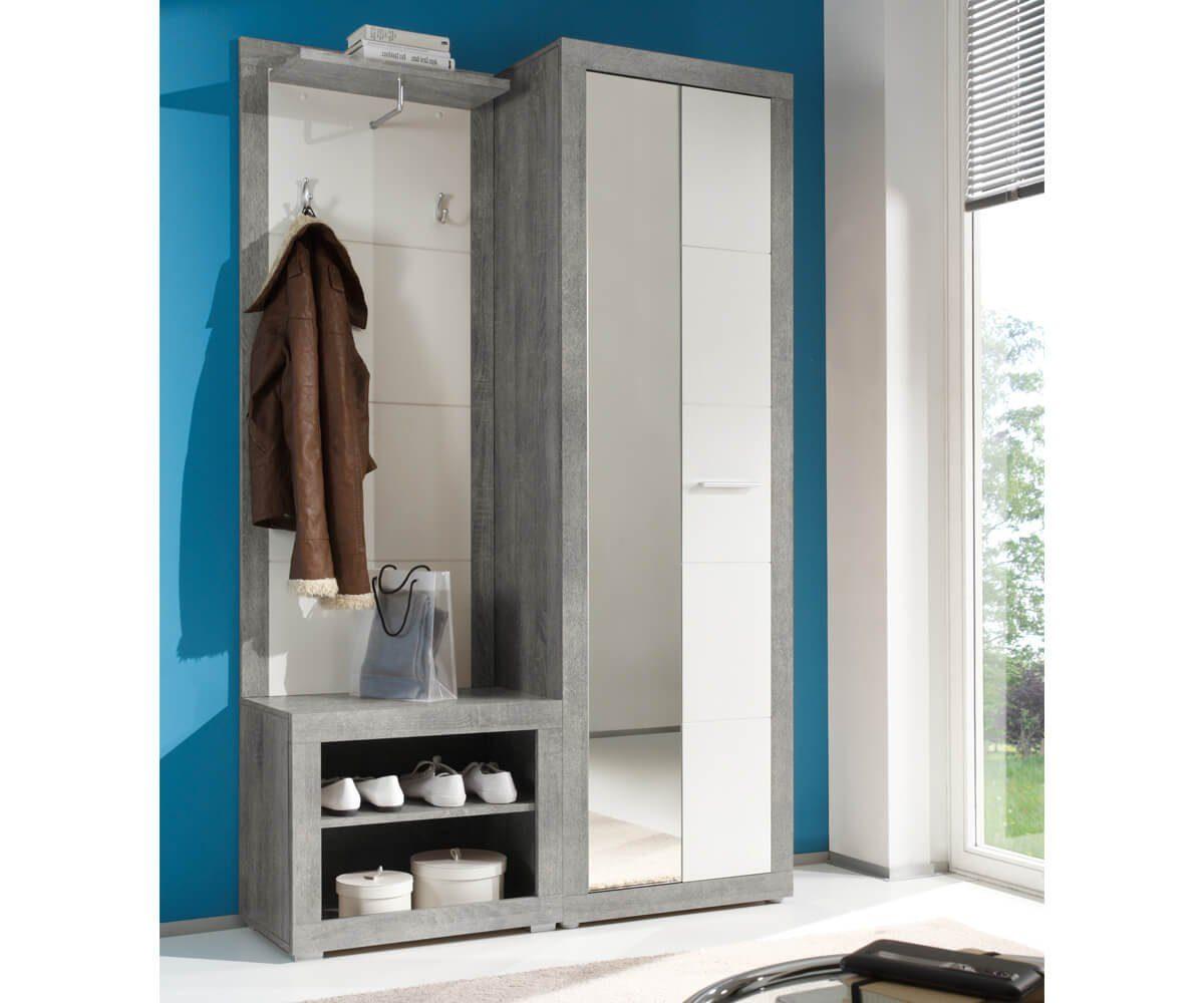 DELIFE Garderobe Shandor Weiss Hochglanz Grau 120x195 ...