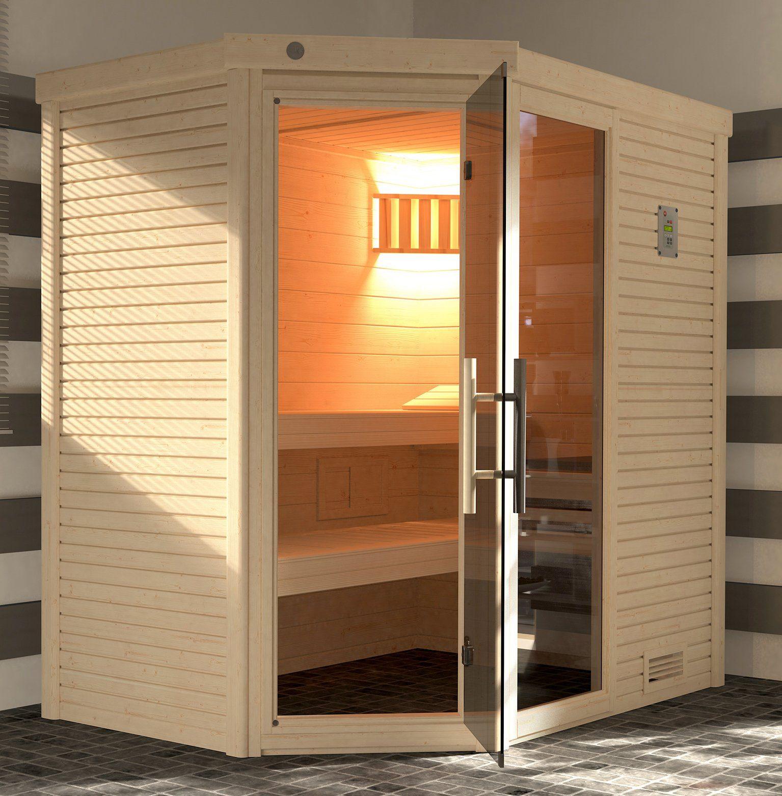 Weka Sauna »Cubilis Eck Gr.1«, 195X145X204 Cm, Ohne Ofen, Inkl